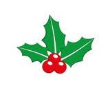 Εικονίδιο Χριστουγέννων φύλλων μούρων της Holly απεικόνιση αποθεμάτων