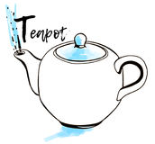 Εικονίδιο Eapot Σκίτσο αυτοκόλλητων ετικεττών Συρμένη χέρι απεικόνιση με το ύφος doodle Αφίσα τέχνης Τύπος καρτών Άνευ ραφής ανασ Στοκ Εικόνες