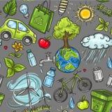 Εικονίδιο eco Doodles άνευ ραφής Στοκ Εικόνες