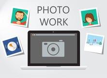 Εικονίδιο lap-top στο γκρίζο backgroud με το πλαίσιο φωτογραφιών Στοκ Φωτογραφία