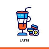 Εικονίδιο LATTE του αρτοποιείου, μαγείρεμα γραμμών κτυπήματος Διανυσματικό σύγχρονο επίπεδο εικονόγραμμα για το κινητό σχέδιο εφα Στοκ Φωτογραφία