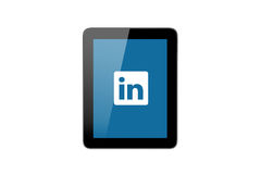 Εικονίδιο LinkedIn στο PC ταμπλετών Στοκ φωτογραφίες με δικαίωμα ελεύθερης χρήσης