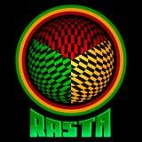 Εικονίδιο Rasta - διανυσματικό έμβλημα, χρώματα της Τζαμάικας απεικόνιση αποθεμάτων