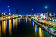 Εικονικές παραστάσεις πόλης νύχτας της πόλης Hochiminh, Βιετνάμ Στοκ Εικόνα