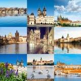 Εικονικές παραστάσεις πόλης της Πράγας, συμπεριλαμβανομένης της γέφυρας του Charles, ST Vitus Cathed Στοκ Φωτογραφίες