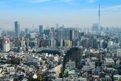 Εικονικές παραστάσεις πόλης του Τόκιο στην ομίχλη μετά από τη βροχή στη χειμερινή εποχή, ορίζοντας Στοκ φωτογραφίες με δικαίωμα ελεύθερης χρήσης