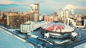 Εικονικές παραστάσεις πόλης, υψηλοί κτίρια γραφείων ανόδου και ουρανοξύστες στην πόλη, χειμερινό φως της ημέρας, τοπ άποψη το χει Στοκ εικόνες με δικαίωμα ελεύθερης χρήσης