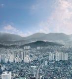 εικονικές παραστάσεις πόλης της πόλης και του ορίζοντα της Σεούλ από την εναέρια άποψη, σύγχρονες Στοκ Εικόνες