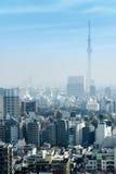 Εικονικές παραστάσεις πόλης του Τόκιο στην ομίχλη μετά από τη βροχή στη χειμερινή εποχή, ορίζοντας Στοκ Εικόνες