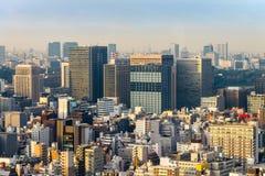 Εικονικές παραστάσεις πόλης του Τόκιο το χειμώνα ομίχλης, ορίζοντας του Τόκιο, γραφείο buil Στοκ φωτογραφία με δικαίωμα ελεύθερης χρήσης