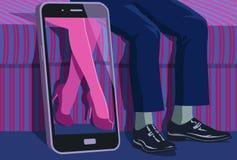 Εικονική αγάπη που αντιπροσωπεύεται από τη συνεδρίαση ανδρών κοντά στην όμορφη εμφάνιση γυναικών στην οθόνη smartphone διανυσματική απεικόνιση