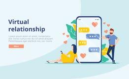 Εικονική διανυσματική έννοια σχέσης Νέο ζεύγος ανθρώπων που κουβεντιάζει στην οθόνη smartphone χρονολόγηση εικονική ελεύθερη απεικόνιση δικαιώματος