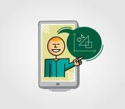 Εικονική διδασκαλία δασκάλων μέσω του τηλεφώνου κυττάρων Στοκ φωτογραφίες με δικαίωμα ελεύθερης χρήσης