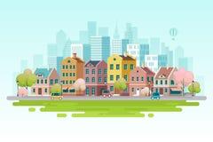 Εικονική παράσταση πόλης άνοιξη επίσης corel σύρετε το διάνυσμα απεικόνισης Στοκ φωτογραφία με δικαίωμα ελεύθερης χρήσης