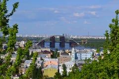 Εικονική παράσταση πόλης Κίεβο, Ουκρανία άνοιξη καλός καιρός μπλε ουρανός Στοκ εικόνα με δικαίωμα ελεύθερης χρήσης