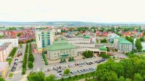Εικονική παράσταση πόλης με τα αρχιτεκτονικά δημόσια κτίρια απόθεμα βίντεο