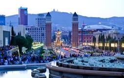 Εικονική παράσταση πόλης της Βαρκελώνης στο σούρουπο στοκ φωτογραφία