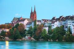 Εικονική παράσταση πόλης της Βασιλείας στην Ελβετία Στοκ Εικόνες