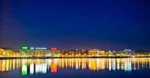 Εικονική παράσταση πόλης της Γενεύης - ξενοδοχεία στοκ φωτογραφίες