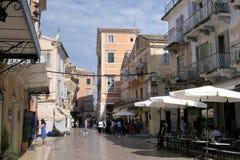 Εικονική παράσταση πόλης της πόλης Ελλάδα της Κέρκυρας με το χαρακτηριστικό παλαιό πόλης μέρος του Στοκ φωτογραφίες με δικαίωμα ελεύθερης χρήσης