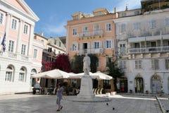 Εικονική παράσταση πόλης της πόλης Ελλάδα της Κέρκυρας με το χαρακτηριστικό παλαιό πόλης μέρος του Στοκ Φωτογραφίες
