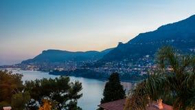 Εικονική παράσταση πόλης της ημέρας του Μόντε Κάρλο στη νύχτα timelapse, Μονακό μετά από το θερινό ηλιοβασίλεμα φιλμ μικρού μήκους