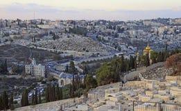 Εικονική παράσταση πόλης της Ιερουσαλήμ, άποψη από το λόφο Στοκ Εικόνα