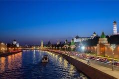Εικονική παράσταση πόλης της Μόσχας, άποψη της Μόσχας Κρεμλίνο και ανάχωμα Mosco Στοκ Εικόνες