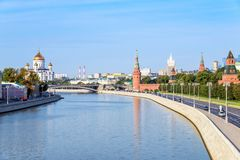 Εικονική παράσταση πόλης της Μόσχας, άποψη της Μόσχας Κρεμλίνο και ανάχωμα Mosco Στοκ φωτογραφίες με δικαίωμα ελεύθερης χρήσης