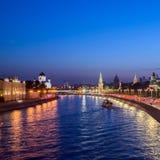 Εικονική παράσταση πόλης της Μόσχας, άποψη της Μόσχας Κρεμλίνο και ανάχωμα Mosco Στοκ Φωτογραφίες