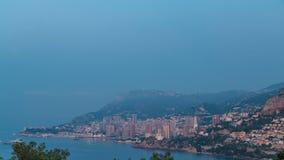 Εικονική παράσταση πόλης της νύχτας του Μόντε Κάρλο στην ημέρα timelapse, Μονακό πριν από τη θερινή ανατολή απόθεμα βίντεο