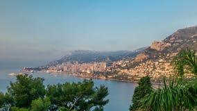Εικονική παράσταση πόλης του Μόντε Κάρλο με το φως πρωινού timelapse, Μονακό στη θερινή ανατολή απόθεμα βίντεο