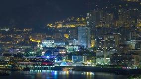 Εικονική παράσταση πόλης του Μόντε Κάρλο timelapse τη νύχτα, Μονακό απόθεμα βίντεο