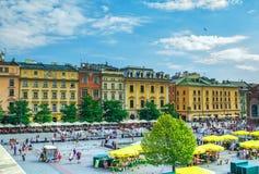 Εικονική παράσταση πόλης του τετραγώνου αγοράς της Κρακοβίας Στοκ Φωτογραφία