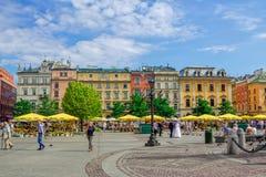 Εικονική παράσταση πόλης του τετραγώνου αγοράς της Κρακοβίας Στοκ φωτογραφίες με δικαίωμα ελεύθερης χρήσης