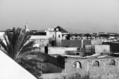 Εικονική παράσταση πόλης του medina του Μαρακές με τον πύργο φοινικών και μουσουλμανικών τεμενών μονοχρωματικός στοκ εικόνες με δικαίωμα ελεύθερης χρήσης