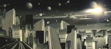 εικονική παράσταση πόλης φανταστική Στοκ φωτογραφία με δικαίωμα ελεύθερης χρήσης
