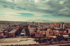 Εικονική παράσταση πόλης Jerevan Ταξίδι στην Αρμενία Βιομηχανία Τουρισμού Τοποθετήστε Ararat στο υπόβαθρο νεφελώδης ουρανός Αρμεν Στοκ Εικόνες