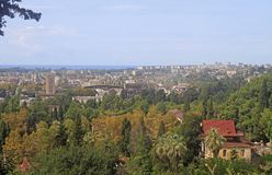 Εικονική παράσταση πόλης Sukhumi - η κύρια πόλη της Αμπχαζίας Στοκ Εικόνες