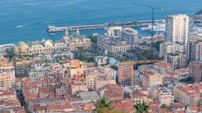Εικονική παράσταση πόλης timelapse του Μόντε Κάρλο, Μονακό με τις στέγες των κτηρίων κατά τη διάρκεια του θερινού ηλιοβασιλέματος απόθεμα βίντεο