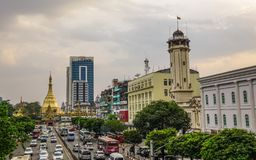 Εικονική παράσταση πόλης Yangon, το Μιανμάρ στοκ φωτογραφία με δικαίωμα ελεύθερης χρήσης