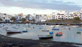 Εικονική παράσταση πόλης από κύριο Arrecife των Κανάριων νησιών Lanzarote, Ισπανία Στοκ Εικόνες