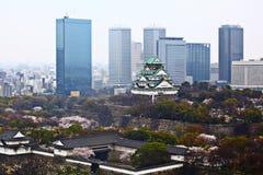 Εικονική παράσταση πόλης και κάστρο της Οζάκα στην Ιαπωνία Στοκ φωτογραφία με δικαίωμα ελεύθερης χρήσης