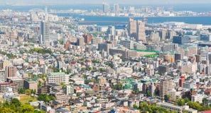 Εικονική παράσταση πόλης και ορίζοντας του Kobe με την άποψη λιμένων από το βουνό Στοκ Φωτογραφία
