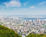 Εικονική παράσταση πόλης και ορίζοντας του Kobe με την άποψη λιμένων από το βουνό Στοκ Εικόνα