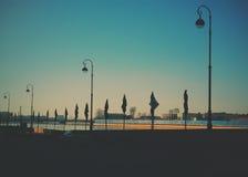 Εικονική παράσταση πόλης και λυκόφως Στοκ φωτογραφίες με δικαίωμα ελεύθερης χρήσης