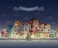 Εικονική παράσταση πόλης και χιονοπτώσεις νύχτας Χριστουγέννων Στοκ Εικόνες