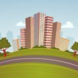 Εικονική παράσταση πόλης κινούμενων σχεδίων Στοκ Φωτογραφία
