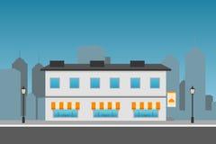 Εικονική παράσταση πόλης με το κτήριο εστιατορίων Επίπεδη απεικόνιση Στοκ Φωτογραφίες