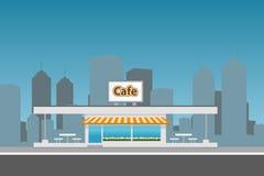 Εικονική παράσταση πόλης με το κτήριο καφέδων Επίπεδη απεικόνιση Στοκ Εικόνα